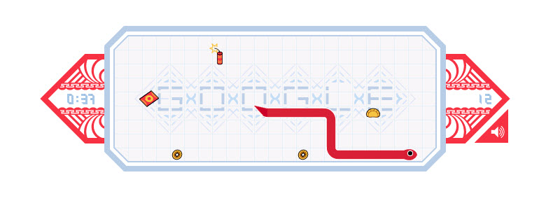 Google doodle chinese new year Snake 2013