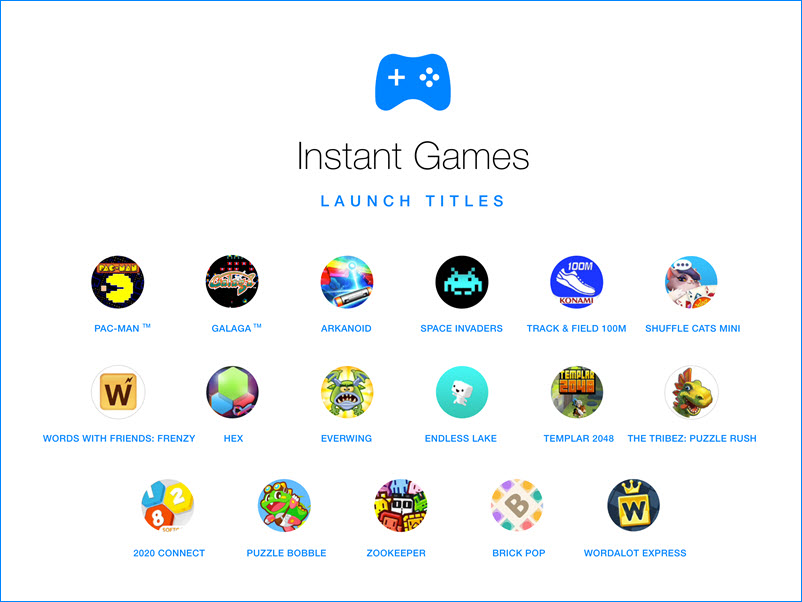 FB messenger game launch titles