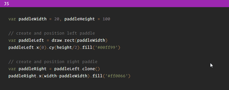 Pong with SVGjs - coding the paddles