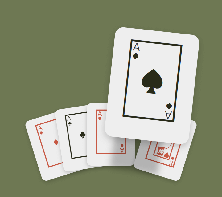 Card hover effect with aces and king