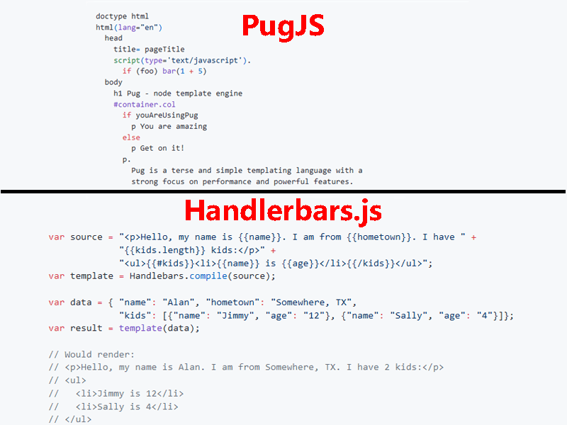 PugJS and HandlebarsJS Syntax