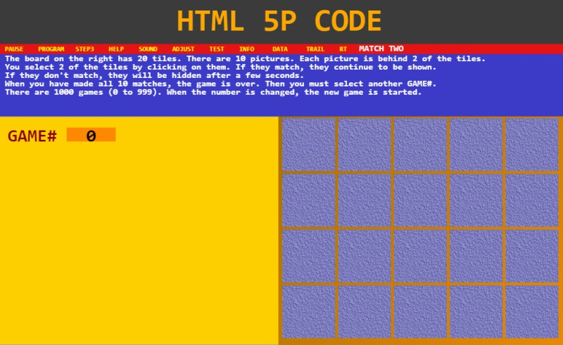 PUZZLE game using an HTML5 P-code Engine